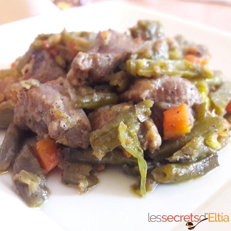 Haricots verts à la viande